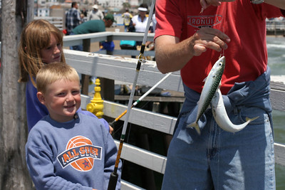 Christopher caught two Pacific mackerel in one cast using a multi-hook Lucky Lura-type rigging off the Pismo Beach Pier.
