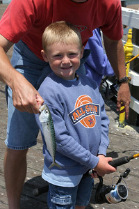 Here's one of two Pacific mackerel that Christopher caught in one cast using a multi-hook Lucky Lura-type rigging off the Pismo Beach Pier.