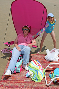 Kathy and Sydney enjoying the beach during our camping trip to Pismo State Beach's North Beach Campground.