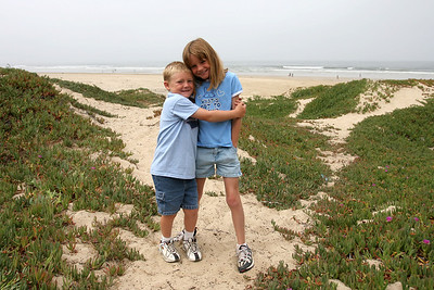 Christopher and Sydney on the dunes in the North Beach Campground at Pismo State Beach.