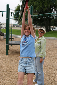 Sydney and Kathy enjoying the playground in the Oceano Memorial Park.