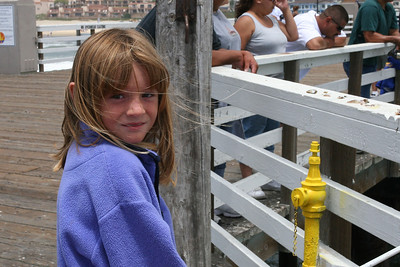 Sydney is ready to catch some fish from the Pismo Beach Pier.