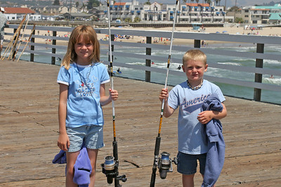 Sydney and Christopher caught six Pacific mackerel during an hour of fishing on the Pismo Beach Pier. Christopher caught the most (four), but Sydney caught the biggest, so both were pretty happy.