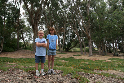 Christopher and Sydney in the Eucalyptus grove next to our North Beach Campground at Pismo State Beach.
