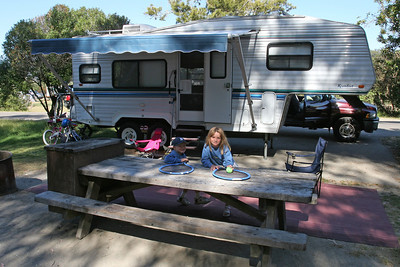 Christopher and Sydney relaxing at our North Beach Campground at Pismo State Beach.