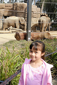 Sierra in front of the elephant enclosure during Alanna and Jaison's birthday party at the Santa Barbara Zoo
