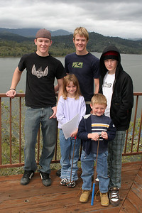 Sydney and Christopher Kane with their cousins, Ryan, Grady and Nathan Roth on the balcony of the Roth Lake House, which is located on Lake Nacimiento in the Oak Shores gated community.