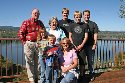 Grady and Mary Clare Kane with their children and grandchildren -- Betsy Roth with two of her three teenage sons (Grady and Nathan) and Patrick Kane with his two children (Sydney and Christopher). The picture was taken on the deck of the Roth Lake House, which is located on Lake Nacimiento in the Oak Shores gated community.
