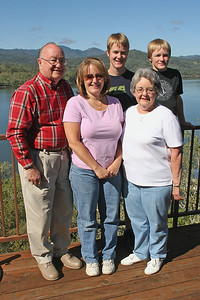 Grady and Mary Clare Kane with their daughter, Betsy Roth, and two of three of her teenage sons, Grady and Nathan. The picture was taken on the deck of the Roth Lake House, which is located on Lake Nacimiento in the Oak Shores gated community.
