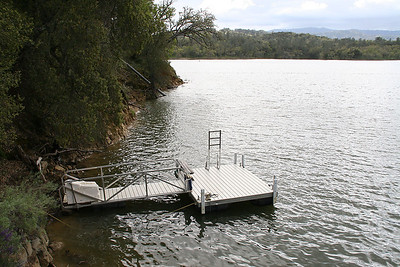 Boat dock near the Roth Lake House, which is located on Lake Nacimiento in the Oak Shores gated community.