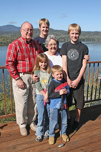 Grady and Mary Clare Kane with some of their grandchildren -- Grady and Nathan (children of Betsy and Frank Roth) and Sydney and Christopher (children of Patrick and Kathy Kane). The picture was taken on the deck of the Roth Lake House, which is located on Lake Nacimiento in the Oak Shores gated community.