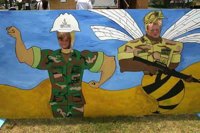 """Sydney and Christopher as """"Seabees"""" during the 2006 Seabee Days"""