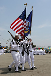 Seabees marching in the colors at the start of the 2006 Seabee Days