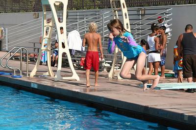 Swim lessons at the Oxnard High School swimming pool.