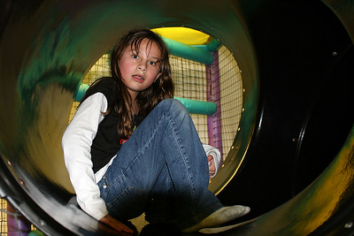 Cassidy about to head down the slide during Sydney's 8th Birthday Party at the Ventura YMCA.
