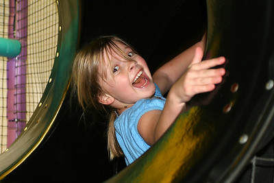 Bailey heading down the slide during Sydney's 8th Birthday Party at the Ventura YMCA.