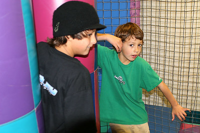 Bryce and Ethan on the jungle gym during Sydney's 8th Birthday Party at the Ventura YMCA.