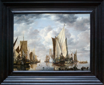 """Shipping in a Calm at Flushing with a States General Yacht Firing a Salute, 1649 by Jan van de Cappelle. I'm not sure what Christopher saw in this piece, but it was a """"must have"""" picture as far as he was concerned. The Getty Center."""