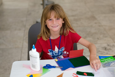 Sydney creating a work of art at the Getty Center.