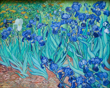 Irises, 1889 by Vincent van Gogh. We all picked out some of our favorite artwork. Pat really likes this one. The Getty Center.