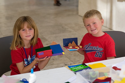 Sydney and Christopher creating their own works of art at the Getty Center.