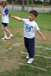 Eli Moore competing in the bean bag toss. 2006 Lutheran elementary school track meet.
