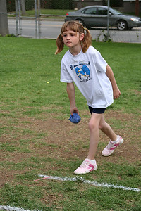 Sydney Kane competing in the bean bag toss, which she one 1st overall. 2006 Lutheran elementary school track meet.