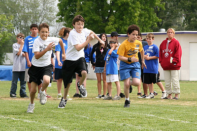 Dylan competing in the 50-meter dash. 2006 Lutheran elementary school track meet.