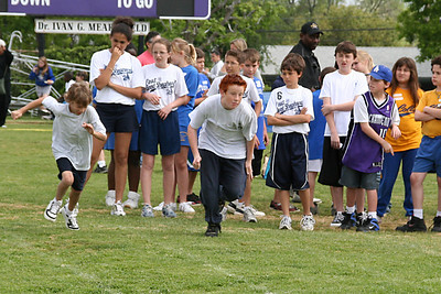 Justin and Ryan competing in the 50-meter dash. 2006 Lutheran elementary school track meet.