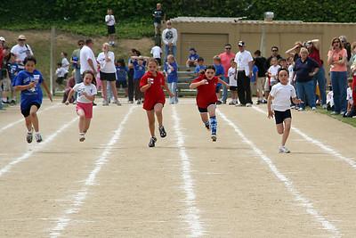 Sierra Moore competing in the 75-meter dash. 2006 Lutheran elementary school track meet.