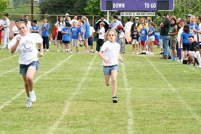 Katie running the 50-meter dash. 2006 Lutheran elementary school track meet.