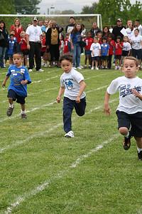 Eli Moore running the 25-meter dash. 2006 Lutheran elementary school track meet.