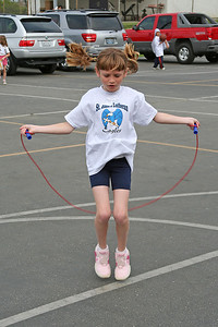 Sydney Kane competing in the jump rope, where she placed 2nd overall. 2006 Lutheran elementary school track meet.