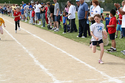 Sydney Kane competing in the 75-meter dash, which she won. 2006 Lutheran elementary school track meet.