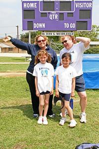 Sydney, Sierra, Ms. Dobie and Ms. Daniel. 2006 Lutheran elementary school track meet.