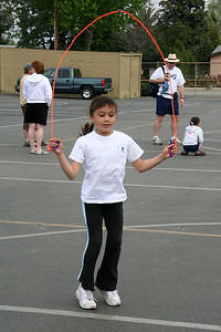 Sierra Moore competing in the jump rump, where she won 1st overall. 2006 Lutheran elementary school track meet.
