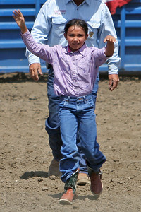 This young girl just competed in the junior bull riding competition at the 2006 Ventura County Fair
