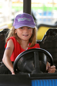 Sydney going for a spin in the bumper cars at the 2006 Ventura County Fair