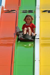 Sydney speeding down the super slide at the 2006 Ventura County Fair