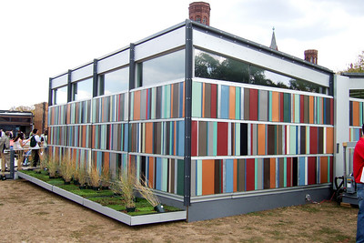 The colorful University of Cincinnati house. While the girls went shopping, Pat and Christopher headed to the National Mall to enjoy the 2007 Solar Decathlon, which joins twenty college and university teams in a competition to design, build, and operate the most attractive and energy-efficient solar-powered house. (Image taken with FinePix F10 at ISO 200, f4.0, 1/400 sec and 8mm)