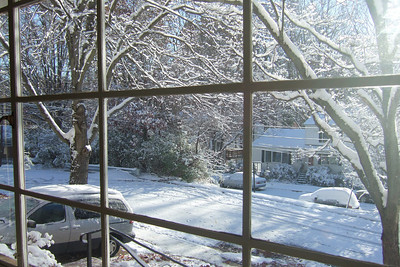 Looking out our front window to the left after our first snow of the year. (Image taken with FinePix F10 at ISO 80, f4.0, 1/320 sec and 8mm)