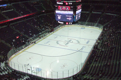 View from our seats (Section 411, Row H) to the Washington Capitals vs. Tampa Bay hockey game that were purchased on eBay for $10 per ticket. (Image taken with FinePix F10 at ISO 1600, f5.0, 1/500 sec and 8.9mm)