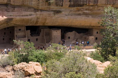 Spruce Tree House, the third largest cliff dwelling (Cliff Palace and Long House are larger), was constructed between AD 1211 and 1278 by the ancestors of the Puebloan peoples of the Southwest. The dwelling contains about 130 rooms and 8 kivas (kee-vahs), or ceremonial chambers, built into a natural cave measuring 216 feet (66 meters) at greatest width and 89 feet (27 meters) at its greatest depth. It is thought to have been home for about 80 people. Mesa Verde, Spanish for green table, offers a spectacular look into the lives of the Ancestral Pueblo people who made it their home for over 700 years, from A.D. 600 to A.D. 1300. Today, the park protects over 4,000 known archeological sites, including 600 cliff dwellings. These sites are some of the most notable and best preserved in the United States. (Image taken with Canon EOS 20D at ISO 400, f11.0, 1/250 sec and 70mm)