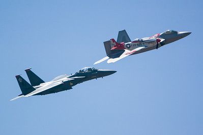 P-51, F-22 and F-15E Eagle. 2007 Point Mugu Air Show (Image taken with Canon EOS-1D at ISO 200, f4.0, 1/5000 sec and 260mm)