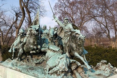 The Cavalry Group portion of the Ulysses S. Grant Memorial, by sculptor Henry Merwin Shrady. The memorial is a United States Presidential Memorial honoring American Civil War General and President of the United States Ulysses S. Grant. It is located at the base of Capitol Hill.