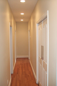 Upstair's hallway. Laundry is to immediate right. Two bedrooms with a Jack and Jill bath are to the left and the master bedroom is at the end of the hall to the right. 4357 26th Street N, Arlington VA (Image taken with FinePix F10 at ISO 800, f2.8, 1/170 sec and 8mm)