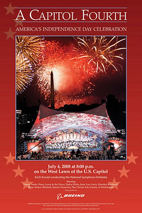 """From: http://www.pbs.org/capitolfourth/concert.html  Fourth of July Concert on PBS On July 4th, 2008, A Capitol Fourth Celebrates Independence Day in Washington, D.C. with Spectacular Fireworks over the Washington Monument  A Capitol Fourth in High Definition Live on PBS from the West Lawn of the U.S. Capitol Friday, July 4th, from 8:00 to 9:30 pm ET  Emmy and Golden Globe Award-winning film, theater and television actor Jimmy Smits hosts the 28th annual broadcast of America's biggest and best-loved 4th of July concert on PBS, featuring unrivaled musical performances from some of the country's best known and award-winning artists, as well as a spectacular fireworks display on the National Mall over the Washington Monument. Grammy winners Huey Lewis and the News, American Idol winner Taylor Hicks, rock 'n' roll legend Jerry Lee Lewis, Broadway star Brian Stokes Mitchell, classical superstar Hayley Westenra and soprano Harolyn Blackwell will perform a selection of patriotic and celebratory music with the National Symphony Orchestra under the direction of top pops conductor Erich Kunzel. Olympic Gold Medal winner Scott Hamilton will lead a tribute to Team USA members competing in Bejing including, Bob Malaythong – Badminton, Tim Morehouse – Fencing, Nancy Rios – Sailing, Dominic Grazioli – Shooting, Eli Bremer – Modern Pentathlon, Kendrick Farris – Weightlifting, Jake Deitchler – Wrestling, Jessica Long – USA Paralympics, Swimming. The July 4th concert finale includes Tchaikovsky's """"1812 Overture"""" – an audience favorite and now A Capitol Fourth tradition – featuring the U.S. Army Herald Trumpets and complete with live cannon fire provided by the United States Army Presidential Salute Battery.  The Choral Arts Society of Washington, under the direction of Norman Scribner, returns to the show. The Joint Armed Forces Color Guard of the Military District of Washington will also be featured on this as well as the United States Marine Drum and Bugle Corps."""
