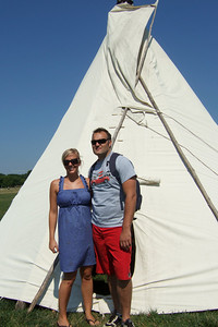 Anita and Andrew checking out a tepee that was set up to celebrate the pending arrival of the Longest Walk 2008, an 8,000-mile walk for Native American rights, environmental protection, and to stop global warming.   Kathy's niece, Anita, and her boyfriend, Andrew, were our first guests in our new home. They were in the States for a visit from England, so we showed them the sights of Washington D.C. (Image taken with FinePix F10 at ISO 80, f6.4, 1/750 sec and 8mm)