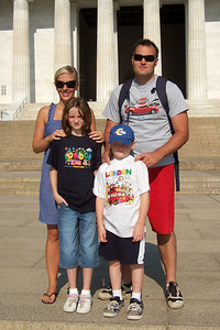 On the steps of the Lincoln Memorial. Kathy's niece, Anita, and her boyfriend, Andrew, were our first guests in our new home. They were in the States for a visit from England, so we showed them the sights of Washington D.C. (Image taken with FinePix F10 at ISO 200, f8.0, 1/800 sec and 10.4mm)