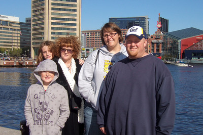 Kathy, Christopher and Sydney with Robert and Laurie enjoying the Inner Harbor in Baltimore (19 Oct 2008). (Image taken with FinePix F10 at ISO 200, f7.1, 1/640 sec and 10.4mm)